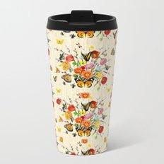 Butterfly Bouquet on Raw Silk Metal Travel Mug