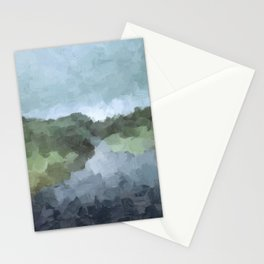 Seafoam Skies Forest Green Navy Indigo River Abstract Nature Painting Art Print Wall Decor  Stationery Cards