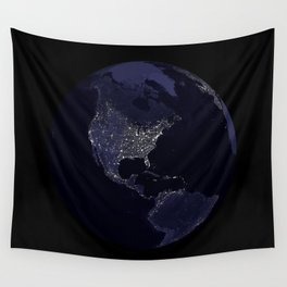 Earth Globe Lights Wall Tapestry