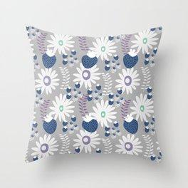Blue floral strawberries Throw Pillow