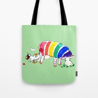 cows Tote Bags featuring Cows by Hattie Hyder