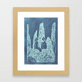 friends blue Framed Art Print