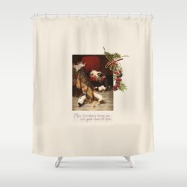 Pet Lover Christmas Greeteengs Shower Curtain