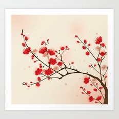 Oriental plum blossom in spring 009 Art Print