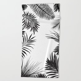 Black And White Palm Leaves Beach Towel