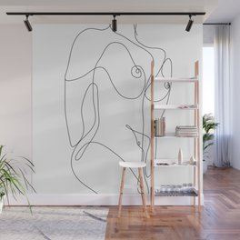 Minimal Line Art One Line Female Figure II Wall Mural