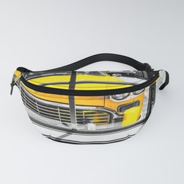 vintage yellow taxi car with black and white background Fanny Pack