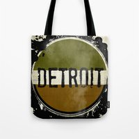 detroit Tote Bags featuring detroit by Marshflowers