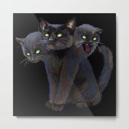 3 HEADED KITTY Metal Print