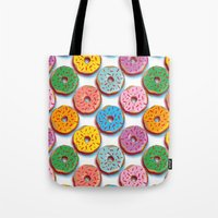 donuts Tote Bags featuring Donuts by Helene Michau
