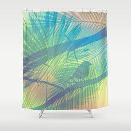 Palm bird Shower Curtain