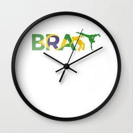 Wushu Karate Ju-Jutsu Kung-Fu Brazil Flag Capoeira Wall Clock