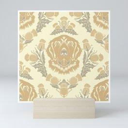Golden Retriever with Thistle Damask Pattern Mini Art Print