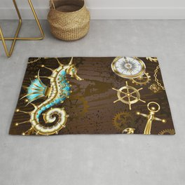 Wooden Background with Mechanical Seahorse ( Steampunk ) Rug