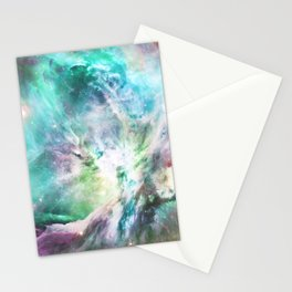 Abstract teal pink cosmic nebula space galaxy Stationery Cards