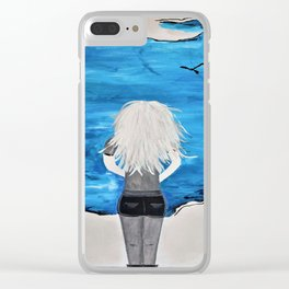 Blue Sky and the Future Painting by Jodi Tomer. Blonde Girl Portrait Clear iPhone Case