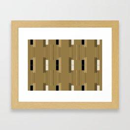 White Hairline Brown Squares Framed Art Print