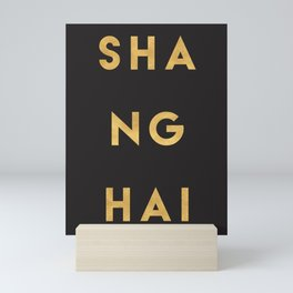 SHANGHAI CHINA GOLD CITY TYPOGRAPHY Mini Art Print