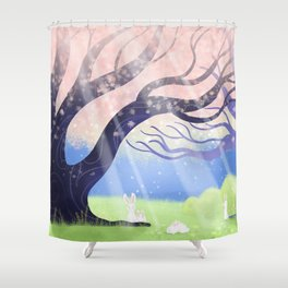 Soft Light On Soft Bunnies In Aloquil's Glades Shower Curtain