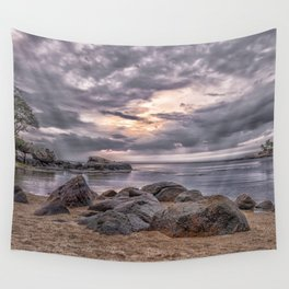 Cloudy beach sunset Wall Tapestry