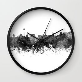 Dusseldorf skyline in black watercolor Wall Clock
