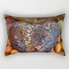 Autumn Still Life With Glass Heart Rectangular Pillow