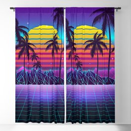 Radiant Sunset Synthwave Blackout Curtain