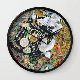 Leopard confetti world peace Wall Clock