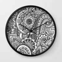 paisley Wall Clocks featuring Paisley by Emma Lin