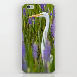 Great Egret Among the Pickerelweeds iPhone Skin