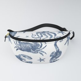 Delft Blue nautical Marine Life pattern, coastal beach Fanny Pack