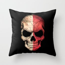 Dark Skull with Flag of Malta Throw Pillow