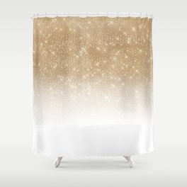 Glamorous Gold Glitter Sequin Ombre Gradient Shower Curtain