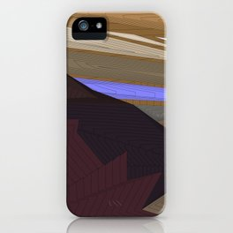 Psychedelic Magic landscap with stylised mountains, sea and violet Sun. iPhone Case