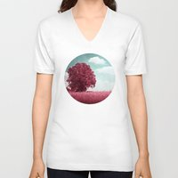 moulin rouge V-neck T-shirts featuring ARBRE ROUGE by VIAINA