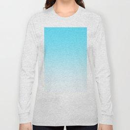 Sky Blue White Ombre Long Sleeve T-shirt