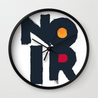noir Wall Clocks featuring Noir by sonsofwolves