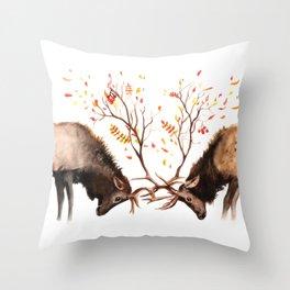 Botanical Deer Throw Pillow