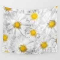 daisies Wall Tapestries featuring Daisies by Klara Acel