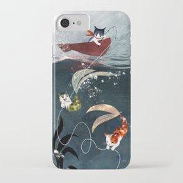"""""""Catfish"""" - cute fantasy cat mermaids illustration iPhone Case"""