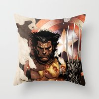 x men Throw Pillows featuring X-MEN by Thorin