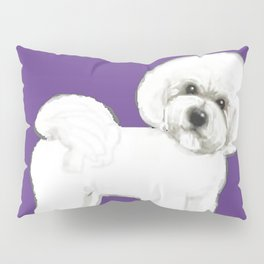 Bichon Frise dog on Ultraviolet, 2018 Bichon , Year of the dog, Pantone Ultraviolet Pillow Sham