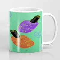 nail polish Mugs featuring Nail Polish Abstract Digital Painting by Jackie Ludtke