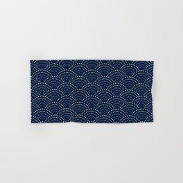 Japanese Blue Wave Seigaiha Indigo Super Moon Pattern Hand & Bath Towel