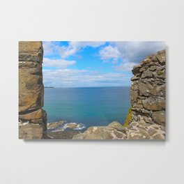 Blue Views out of Dunluce Castle Metal Print
