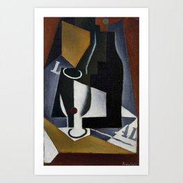 "Juan Gris ""Bouteille, verre et journal (Bottle, glass and journal)"" Art Print"