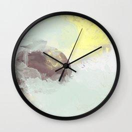 watercolor abstract mint yellow brown art  Wall Clock