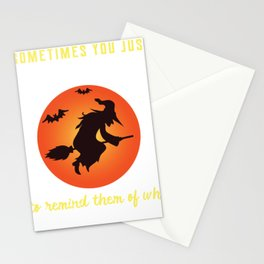 Halloween Creepy Witch Put On Hat Stationery Cards