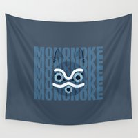 princess mononoke Wall Tapestries featuring Mononoke Blue by Sierra Wheeler