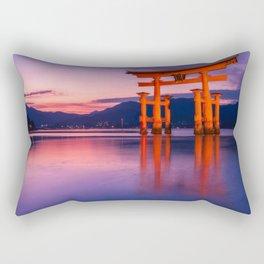 Wonderful sunset colors at the famous floating Torii Gate on Miyagima Island, Japan. Rectangular Pillow